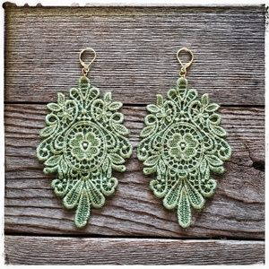handmade sage green victorian lace earrings
